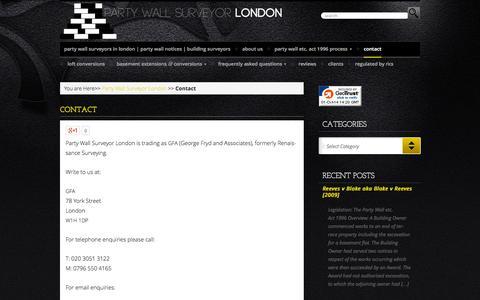 Screenshot of Contact Page partywallsurveyor-london.co.uk - Contact  - Party Wall Surveyor - London - captured Oct. 1, 2014