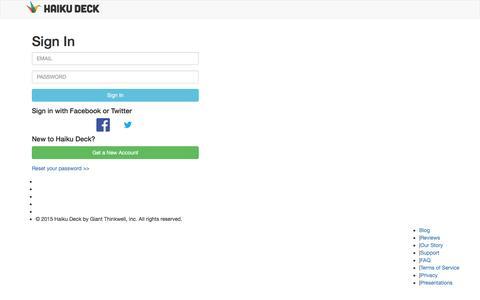 Screenshot of Login Page haikudeck.com - Presentation Software | Online Presentation Tools | Haiku Deck - captured Dec. 18, 2015