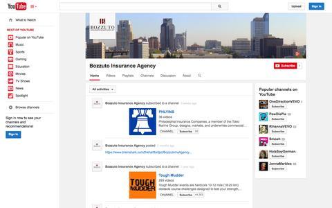 Screenshot of YouTube Page youtube.com - Bozzuto Insurance Agency  - YouTube - captured Oct. 23, 2014