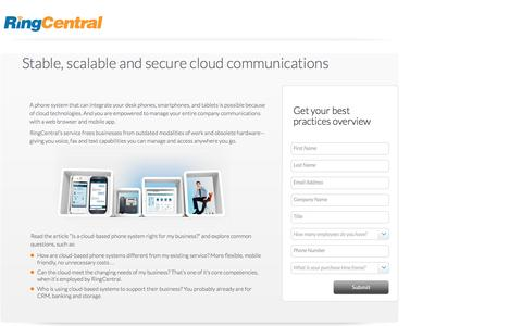 Screenshot of Landing Page ringcentral.com - Stable, scalable and secure cloud communications - captured June 14, 2016