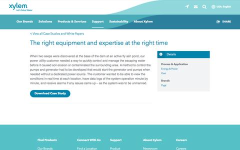 Screenshot of Case Studies Page xylem.com - The right equipment and expertise at the right time   Xylem US - captured Nov. 9, 2019
