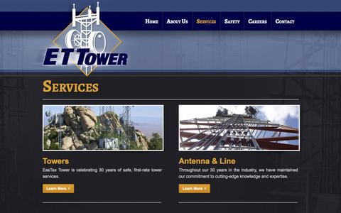 Screenshot of Services Page ettower.com - EasTex Tower, ETTower services: Towers, Antenna, Site, Radio | ET Tower - captured Oct. 1, 2014