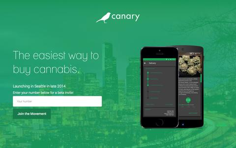 Screenshot of Home Page canarydelivers.com - Canary – Prohibition Is Over - captured Dec. 13, 2014