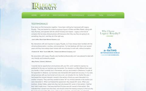 Screenshot of Testimonials Page legacyroyaltyllc.com - Legacy Royalty - captured Sept. 29, 2014