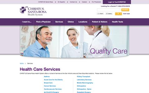 Screenshot of Services Page christussantarosa.org - Services - captured March 9, 2016