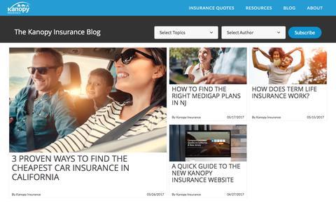 Screenshot of Blog kanopyinsurance.com - The Kanopy Insurance Blog - captured June 9, 2017