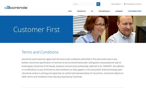 Screenshot of Terms Page c3controls.com - Terms and Conditions - CUSTOMER FIRST - c3controls - captured Dec. 14, 2015