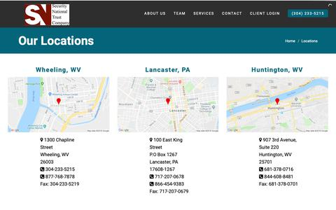 Screenshot of Locations Page securitynationaltrust.com - Our Trust And Investment Management Locations In WV & PA - captured Oct. 25, 2018