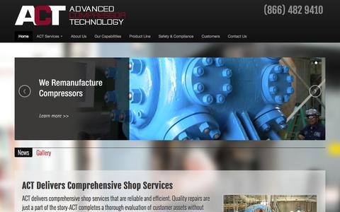 Screenshot of Home Page actcomp.com - Advanced Compressor Technology - captured Oct. 4, 2014