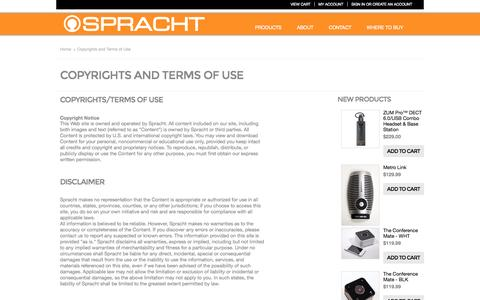 Screenshot of Terms Page spracht.com - Copyrights and Terms of Use - captured Sept. 26, 2014