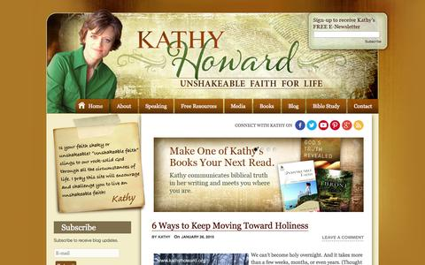 Screenshot of Home Page kathyhoward.org - Kathy Howard - Official Website of Author and Speaker Kathy Howard - captured Jan. 27, 2015