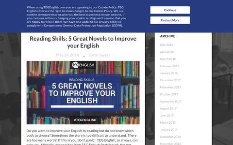 Screenshot of Press Page tegenglish.com - TEG English Courses   TEG News - captured June 4, 2018