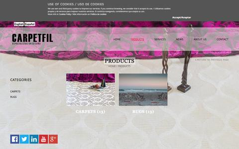Screenshot of Products Page carpetfilexport.com - PRODUCTS - carpetfilexport.com - captured Oct. 2, 2014