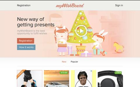 Screenshot of Home Page mywishboard.com - Wishlist is an online wish board. Create your wish diary and list! - captured Jan. 28, 2016