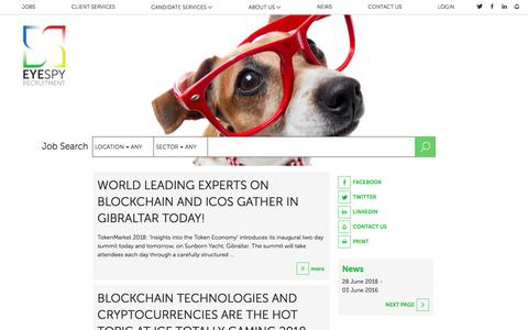 Screenshot of Press Page eyespyrecruitment.com - News - EyeSpy Recruitment Agency - captured July 23, 2018