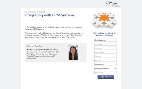 Screenshot of Landing Page planview.com - Integrating with PPM Systems   Troux Webcast - captured Aug. 19, 2016