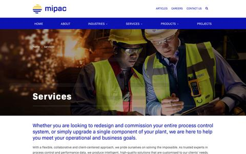 Screenshot of Services Page mipac.com.au - Services - Mipac   Process control and performance data solutions - captured Dec. 8, 2018