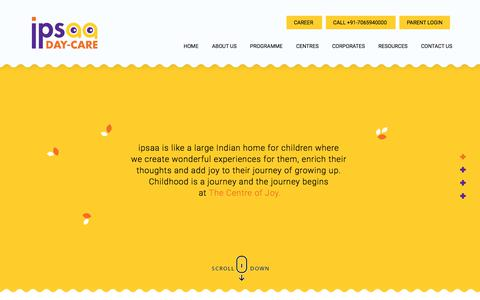 Screenshot of Home Page ipsaa.in - Ipsaa Day Care | Best Daycare In India - captured Sept. 24, 2018