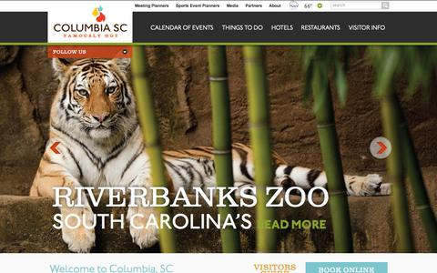 Screenshot of Home Page columbiacvb.com - Columbia SC Official Website | Events, Restaurants, Hotels | South Carolina - captured Sept. 19, 2014