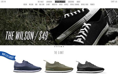 Screenshot of Home Page greats.com - High Quality Men's Shoes and Sneakers   Greats - captured Nov. 3, 2015