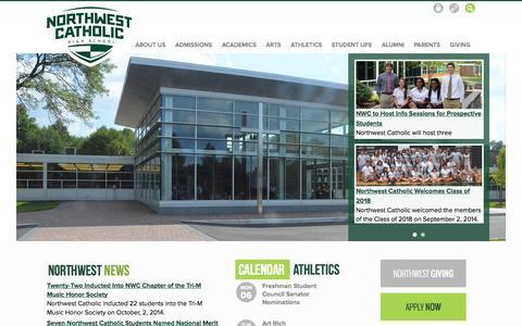 Screenshot of Home Page northwestcatholic.org - Northwest Catholic - captured Oct. 6, 2014