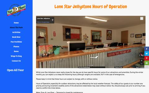 Screenshot of Hours Page lonestarjellystone.com - Hours of Operation | Lone Star Jellystone Park - captured Jan. 26, 2018