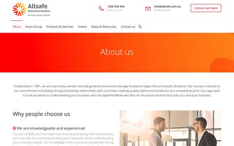 Screenshot of About Page allsafe.com.au - About - Allsafe Insurance Brokers - captured Oct. 8, 2017