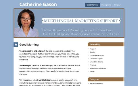 Screenshot of Home Page catherinegason.com - Catherine Gason, Trilingual Marketer and Virtual Assistant. Homepage. - captured Sept. 29, 2014