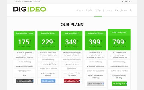 Screenshot of Pricing Page digideo.co - Pricing - Digideo digital business consulting - captured Oct. 29, 2014