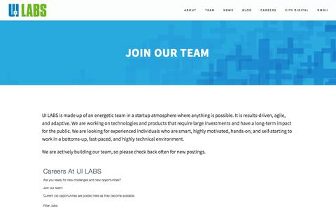 Screenshot of Jobs Page uilabs.org - JOIN OUR TEAM — UI LABS - captured Dec. 6, 2016