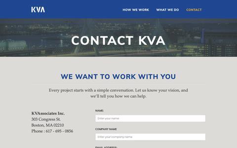 Screenshot of Contact Page kvaboston.com - Contact KVA - captured Oct. 14, 2018