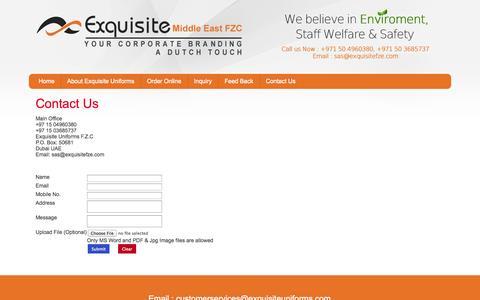 Screenshot of Contact Page exquisiteuniforms.com - Contact Us - captured Sept. 30, 2014