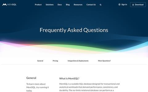 Screenshot of FAQ Page memsql.com - Frequently Asked Questions about MemSQL - The No-Limits Database(tm) - captured Nov. 7, 2018