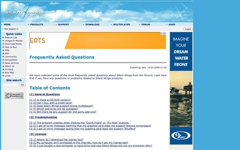Screenshot of FAQ Page silentwings.no - Silent Wings Soaring Simulator - Frequently Asked Questions - captured Oct. 7, 2014