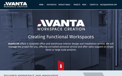 Screenshot of Home Page avantauk.com - Warehouse & Industrial Storage Equipment Design & Installation Co - captured Oct. 4, 2018