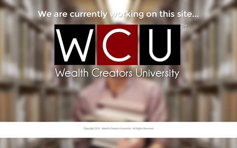 Screenshot of Home Page wealthcreatorsuniversity.com - Under Construction - - captured Jan. 10, 2016