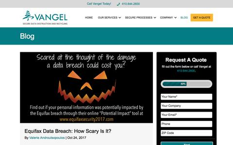 Screenshot of Blog vangelinc.com - Blog - Vangel Inc. - captured Nov. 6, 2017
