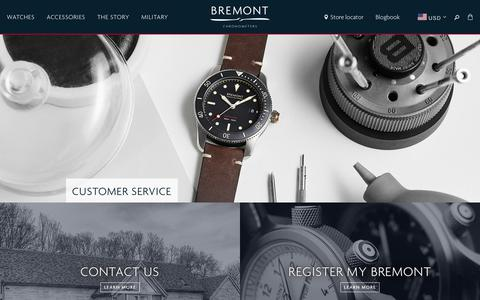 Screenshot of Support Page bremont.com - Customer Service — Bremont Watches USA - captured Dec. 12, 2018
