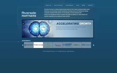 Screenshot of Home Page riversidepartners.com - Riverside Partners - captured Sept. 30, 2014