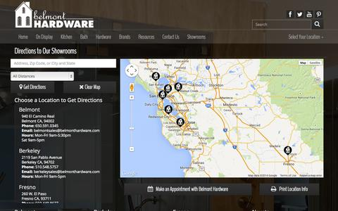 Screenshot of Maps & Directions Page belmonthardware.com - Belmont Hardware Directions - captured Oct. 29, 2014