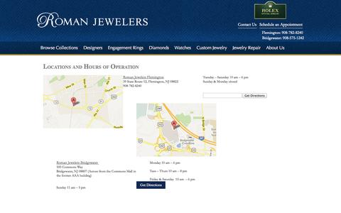 Screenshot of Hours Page romanjewelers.com - Hours of Operation  | Roman Jewelers - captured Sept. 30, 2014
