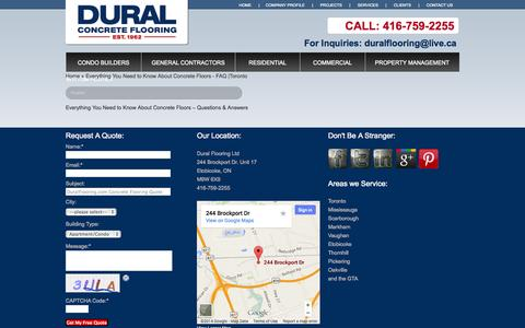 Screenshot of FAQ Page duralflooring.com - Everything You Need to Know About Concrete Floors - FAQ |Toronto | Dural Flooring - captured Oct. 5, 2014