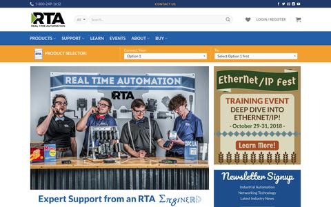 Screenshot of Home Page rtaautomation.com - Real Time Automation, INC. - captured Sept. 15, 2018