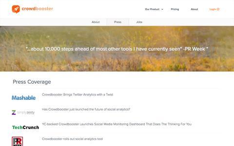 Screenshot of Press Page crowdbooster.com - Crowdbooster - Press - captured Nov. 23, 2015