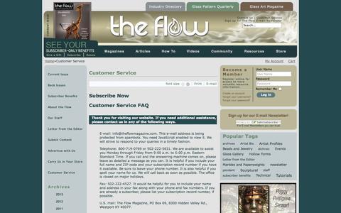 Screenshot of Support Page theflowmagazine.com - Customer Service - captured Oct. 7, 2014