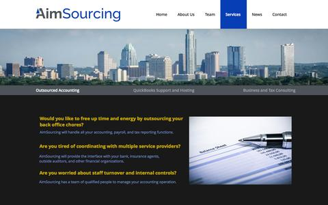 Screenshot of Services Page aimsourcing.com - Services | Aim - captured Oct. 4, 2014