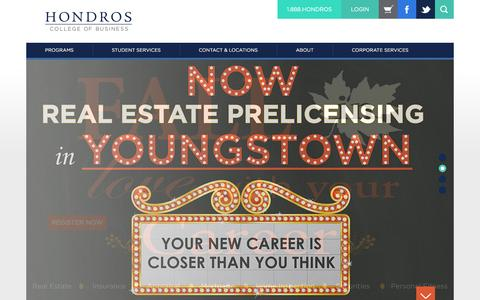 Screenshot of Home Page hondros.com - Hondros College of Business - captured Oct. 3, 2014