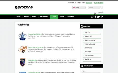 Screenshot of Case Studies Page prozonesports.com - Our clients: Case studies - Prozone Sports - captured Sept. 19, 2014