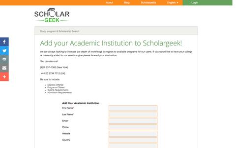 Screenshot of Signup Page scholargeek.org - Become an Academic Partner - captured July 23, 2016