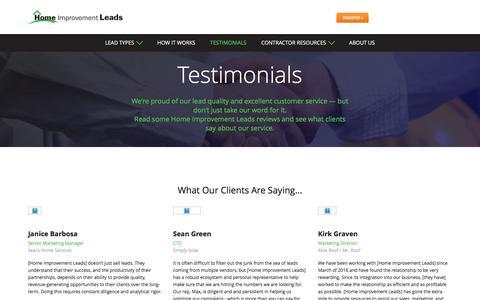 Screenshot of Testimonials Page homeimprovementleads.com - Testimonials - captured March 15, 2017
